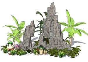 假山叠石植物造景SU(草图大师)模型
