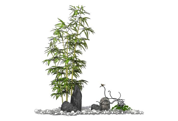 假山石头竹子小品组合SU模型(1)