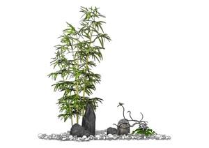 假山石头竹子小品组合SU(草图大师)模型