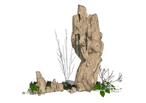 假山石头枯枝植物组合SU(草图大师)模型
