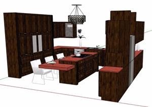 现代风格吧台及橱柜设计SU(草图大师)模型