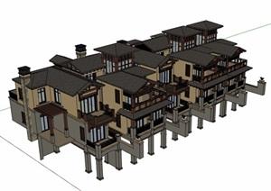 欧式风格别墅多层完整建筑SU(草图大师)模型
