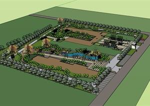 某现代住宅小区完整景观设计SU(草图大师)模型