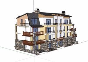 三层中式详细的住宅别墅设计SU(草图大师)模型