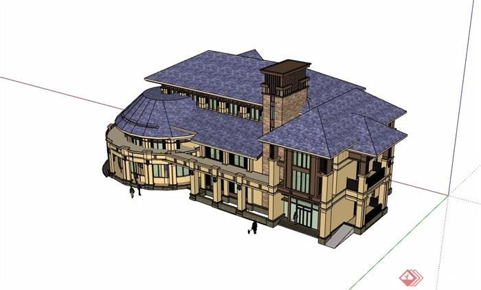 欧式风格多层商业会所建筑设计su模型