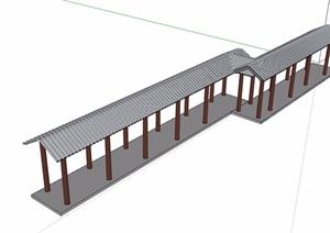 中式风格详细的长廊设计SU(草图大师)模型