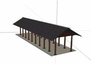 休闲长廊设计SU(草图大师)模型