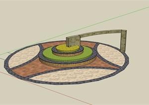 现代圆形花坛花池设计SU(草图大师)模型