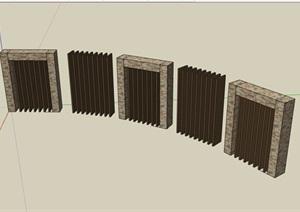 园林景观详细的独特景墙SU(草图大师)模型