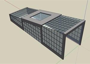 车库玻璃详细的廊架SU(草图大师)模型