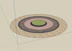 圆形详细的地面铺装设计SU(草图大师)模型