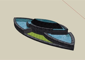 园林景观详细独特的水池景观设计SU(草图大师)模型