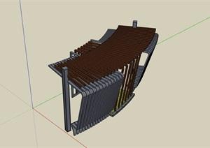 园林景观详细的休闲廊架素材设计SU(草图大师)模型