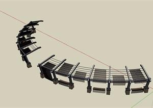 园林景观详细的廊架及坐凳SU(草图大师)模型