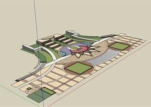 详细的地面铺装铺地设计SU(草图大师)模型
