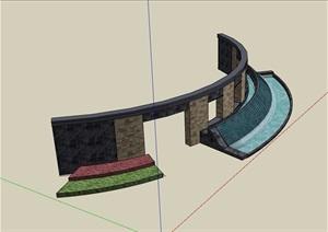 园林景观现代详细的水池景墙SU(草图大师)模型