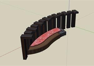 休闲廊架及坐凳素材设计SU(草图大师)模型