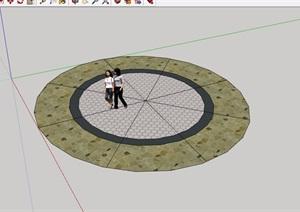 圆形地面铺装素材设计SU(草图大师)模型