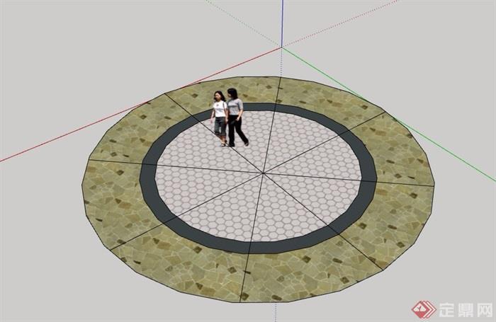 圆形地面铺装素材设计su模型