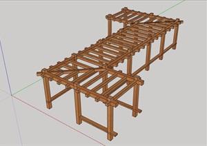 园林景观详细的休闲木质廊架素材SU(草图大师)模型
