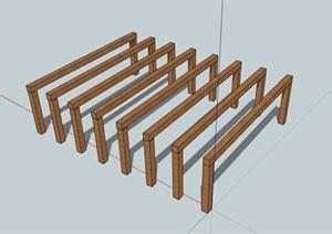 某廊架简单素材设计SU(草图大师)模型