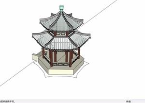 古典中式重檐6角亭设计SU(草图大师)模型