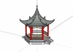 凤凰六角亭设计SU(草图大师)模型