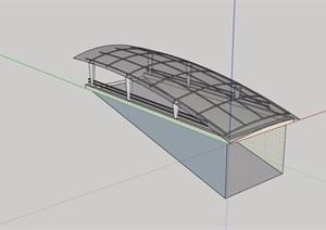 车库入口玻璃廊架素材SU(草图大师)模型