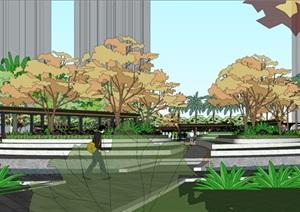 某小区中庭景观设计SU(草图大师)精细模型