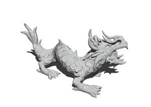 中国龙雕塑SU(草图大师)精细模型喜欢酷