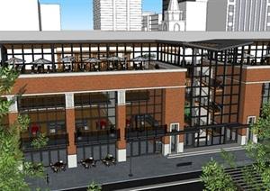 某综合楼办公、餐饮建筑精细SU(草图大师)模型