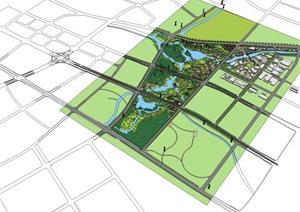 大型城市生态滨水湖畔市民活动休闲公园景观