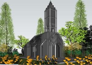 概念性杆件立体构成式透明漂浮朦胧性创意教堂