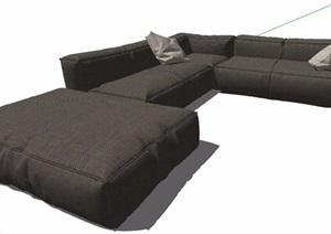 灰色多人布艺沙发设计SU(草图大师)模型