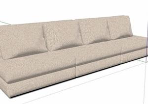 现代简约浅色多人沙发素材SU(草图大师)模型