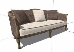 欧式风格灰色系布艺沙发设计SU(草图大师)模型