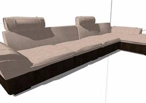 现代转角多人沙发素材SU(草图大师)模型