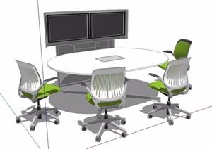 现代椭圆形会议桌椅素材SU(草图大师)模型