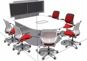 现代简约会议桌椅组合素材SU(草图大师)模型
