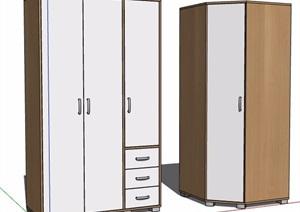 两款简约原木风衣柜SU(草图大师)模型