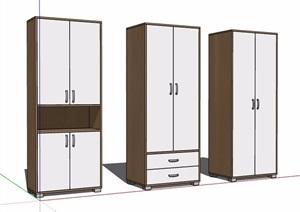 三款现代风格衣柜储物柜素材SU(草图大师)模型