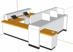 现代风格办公桌办公台SU(草图大师)模型