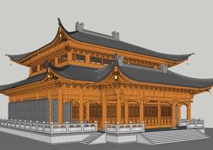 大雄宝殿SU(草图大师)精细古建筑模型