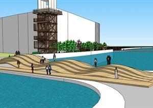 线型滨水临湖架空式观景活动平台景观长廊市民活动休闲步行街