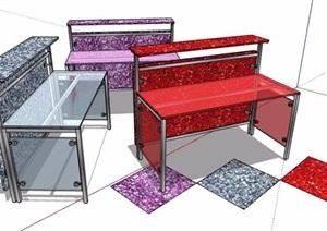 彩色玻璃服务台设计SU(草图大师)模型