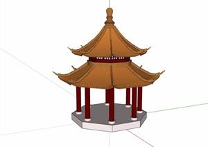 古典中式风格重檐亭设计SU(草图大师)模型