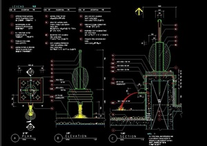 喷泉详细的水景设计cad施工图
