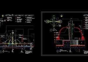 圆形详细的喷泉水景设计cad施工图