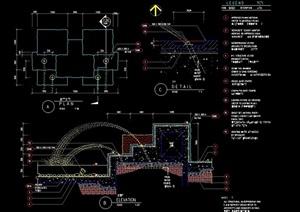 园林景观喷泉水景设计cad施工图