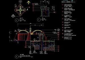 现代详细的喷泉水池景观cad施工图